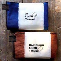 柿渋・藍染めリネン「Tenugui」