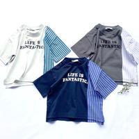 CLOUDY, FINE LATER ハーフ袖丈ゆったりリメイク風 Tシャツ 522-159020