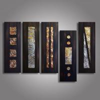 海外輸入 モダンアート 抽象画 (25x70cmx5 木枠付き) 油絵 手描き インテリア 大きなサイズ 絵画