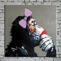 【手描き 油彩画】 -Pan troglodytes girl Oil Painting-  海外輸入 パネルアート 壁掛 インテリア 絵画 油絵