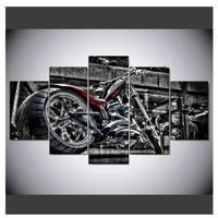 特大 バイク ハーレーダビッドソン カスタム 壁掛け ポスター 5枚組 キャンバス 人気 おしゃれ インテリア ディスプレイ 輸入雑貨