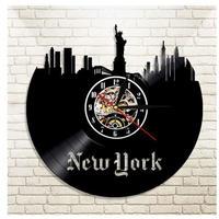 レコード盤壁掛け時計 ニューヨーク NY アメリカ USA 人気 おしゃれ エコ インテリア ディスプレイ シルエット デザイン 輸入雑貨