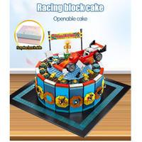 レゴ互換 誕生日 ケーキ ブロック レーシングカー 676ピース おもちゃプレゼント LEGO互換品