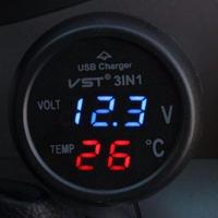 電圧計+温度計 ボルトメーター キャンピングカー 車中泊旅行 usb充電ソケット