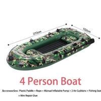 4人乗り 迷彩柄ゴムボート PVC インフレータブルボート カヤック釣り クッション フィッシングボート
