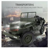 ジープ 4WD RCカー 1/10 オフロード 軍用トラック コンバーチブル ラジコン ミリタリー