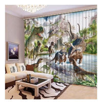 3D 遮光カーテン ジュラシック 恐竜 203×213cm サイズ多数有 DIY おしゃれ 模様替 リビング 子供部屋 サロン 店舗用