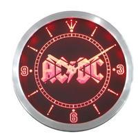 音楽 AC/DC 壁掛け時計 25CM ネオン LED ウォールクロック 赤 青 緑 人気 おしゃれ インテリア ディスプレイ 輸入雑貨