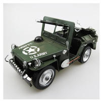 1/18 U.S.ARMY ミリタリー ジープ ブリキ SUV 緑 グリーン コレクション ダイキャストカー モデルカー インテリア ディスプレイ