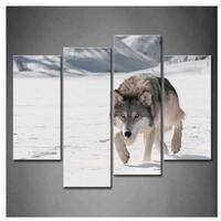 海外輸入 パネルアート -Marching Gray Wolf In Snow- 壁掛 インテリア