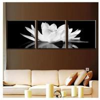 海外輸入 パネルアート -White Lotus In Black Art- インテリア 絵画 壁掛 タペストリ