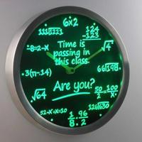 25CM 数学 数式 計算式 ネオン LED ウォールクロック 壁掛け時計 緑 赤 青 人気 おしゃれ インテリア ディスプレイ 輸入雑貨