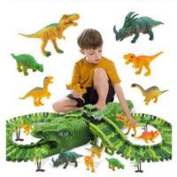 レゴ互換 恐竜 レース 電動レール ブロックセット 153ピース おもちゃ 知育玩具 LEGO互換品