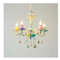 シャンデリア 子供部屋 キャンディーカラー カラフル かわいい クリスタル LED 5ライト 天井照明 ペンダントライト