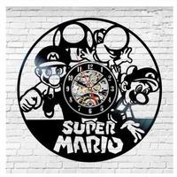 30cm レコード盤 壁掛け時計 スーパーマリオブラザーズ ゲーム 人気 おしゃれ シルエット エコ インテリア ディスプレイ 輸入雑貨