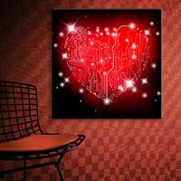 特大 50cm 壁掛け LEDライト ハート レッド 赤 キャンバスアート 木製看板 人気 おしゃれ エコ インテリア ディスプレイ 輸入雑貨