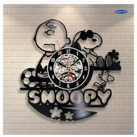 30cm レコード盤 壁掛け時計 スヌーピー アニメ 映画 人気 おしゃれ エコ インテリア ディスプレイ シルエットデザイン 輸入雑貨