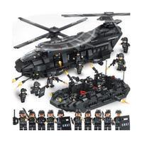 レゴ互換 swat スワットチーム チーム輸送ヘリコプター 軍事都市警察官 ヘリ ブロック 1351ピース LEGO互換