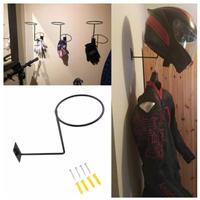 ヘルメットホルダー 2色 ハンガーフック 壁掛け ウォールフック バイク ヘルメット ジャケット グローブ