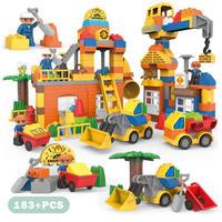 レゴ互換 デュプロ 183ピース 都市建設 ショベルカー ブルドーザー 働く人 カラフルシティ ビッグブロック LEGO互換品 おもちゃ 誕生日プレゼント