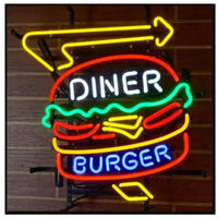 ネオンサイン LED ダイナーバーガー DINER BURGER 43×35㎝ 看板 照明器具 ネオン管 BAR 飲食店