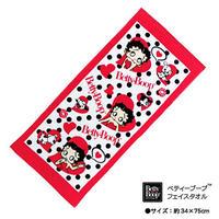 【ベティブープ】シャーリング フェイスタオル Sサイズ 限定 (レッド/ホワイト)