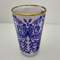 ミントティーコップ・グラス 孔雀パープル 約H8.5×φ5cm