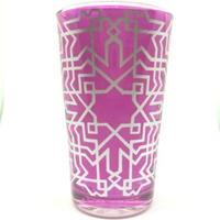 モロッコ プリントグラスコップ 紫(パープル)8cm×5cm