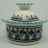 うつわ・陶器・食器 蓋付ボウルSLAMA製(チュニジア食器)ターコイス青