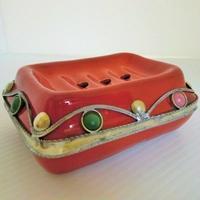 ソープトレイ モロッコ陶器 レッド