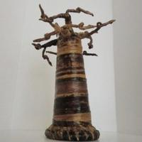 【置物/オブジェ】BaoBab-Treeバナナ皮製バオバブの木(ケニア)8インチ=約20cm