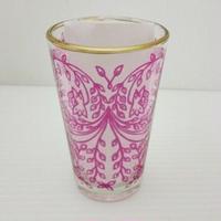 ミントティーコップ・グラス 孔雀ピンク 約H8.5×φ5cm