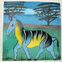 インテリア雑貨 ティンガティンガ絵画 15×15ブルー