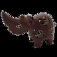 動物置物 サイ ソープストーン(ケニア)