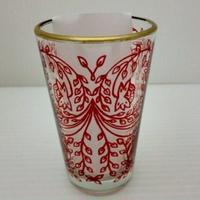 ミントティーコップ・グラス 孔雀レッド 約H8.5×φ5cm