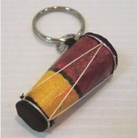 キーホルダー アフリカ太鼓モチーフ(赤・黄色)マダガスカル