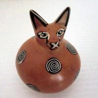 動物置物 猫ソープストーン(ケニア)だるま