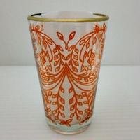 ミントティーコップ・グラス 孔雀オレンジ 約H8.5×φ5cm