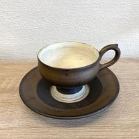 笠間焼 / カップとソーサーのセット(粉引・ラスター)B