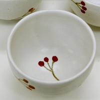 笠間焼 / 赤絵の湯のみ(南天)