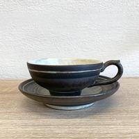 笠間焼 / カップとソーサーのセット(粉引・ラスター)C
