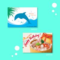 nanoblock®ポストカード  〜海のなかまたち〜  セット(3)