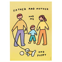 Family of three & Puppy | A3 poster(受注生産商品)