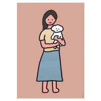 WHITE PUPPY AND GIRL | A3 poster(受注生産商品)