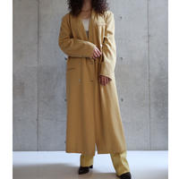 80S WEST GERMANY MONDI MUSTARD YELLOW DOUBLE BREAST GABARDINE COAT