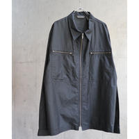 BLACK COATING POLYESTER ZIPUP JACKET