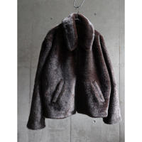 80s-90s  EURO fake fur drizzler type zip up jacket