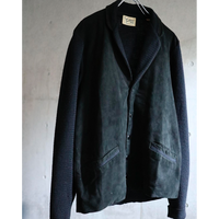 50s USA   black nubuck  leather / wool knit switching tailored jacket