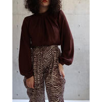 SILK BROWN PULL OVER BLOUSE