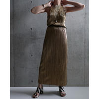 80S USA GOLD PLEATS HALTER NECK DRESS